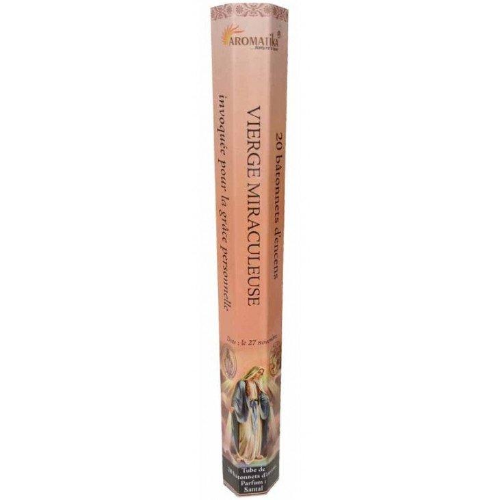 Encens naturel Vierge Miraculeuse tube de 20 bâtonnets