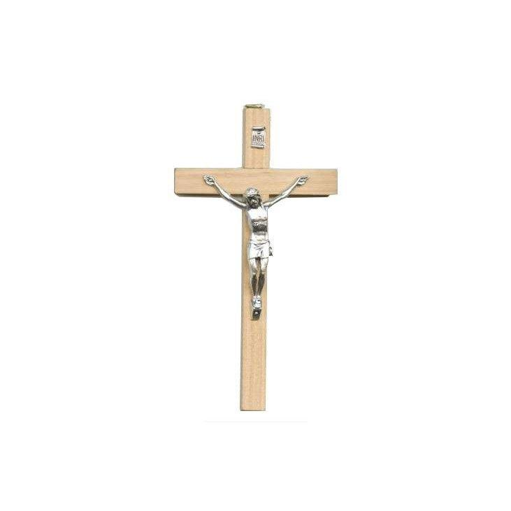 Crucifix en bois avec le Christ en métal - 15 cm