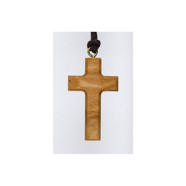 Croix pendentif en bois d'olivier avec cordon