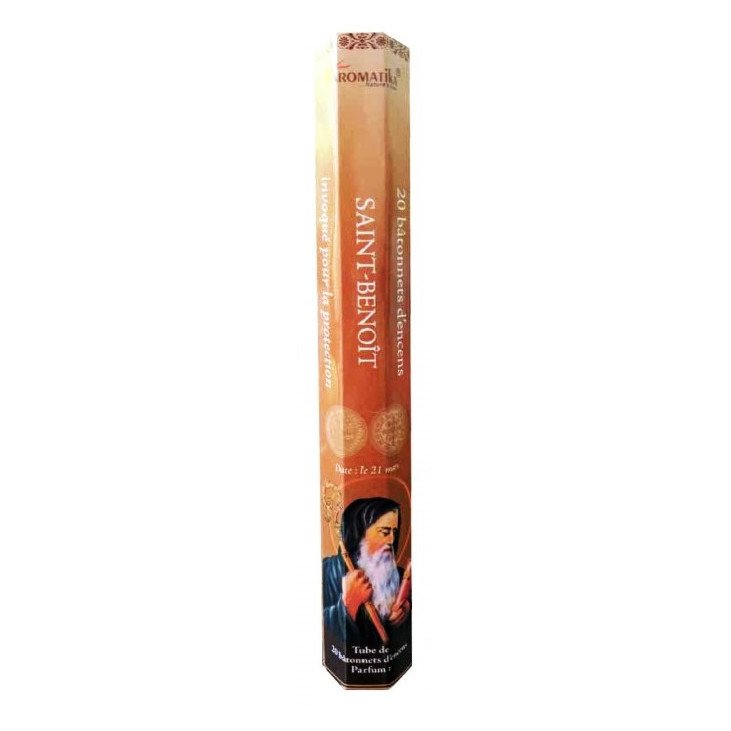 Encens naturel Saint Benoît tube de 20 bâtonnets