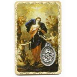 Carte de prière avec médaille en métal - Marie qui Défait les Nœuds