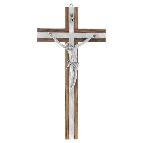 Crucifix en bois & nacre