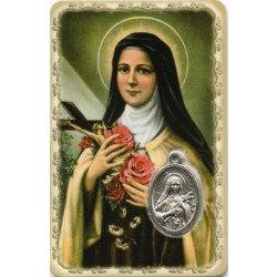 Carte de prière avec médaille en métal - Sainte Thérèse