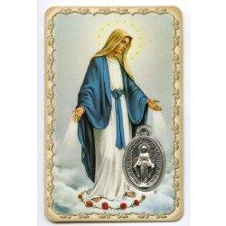 Carte de prière avec médaille en métal - Vierge Miraculeuse