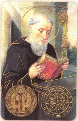 Carte de prière avec poinçon - Saint Benoît