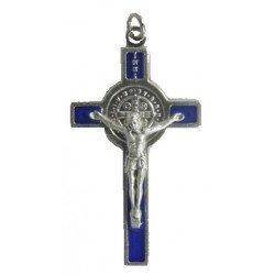 Croix Saint Benoît en métal 5 cm - bleue