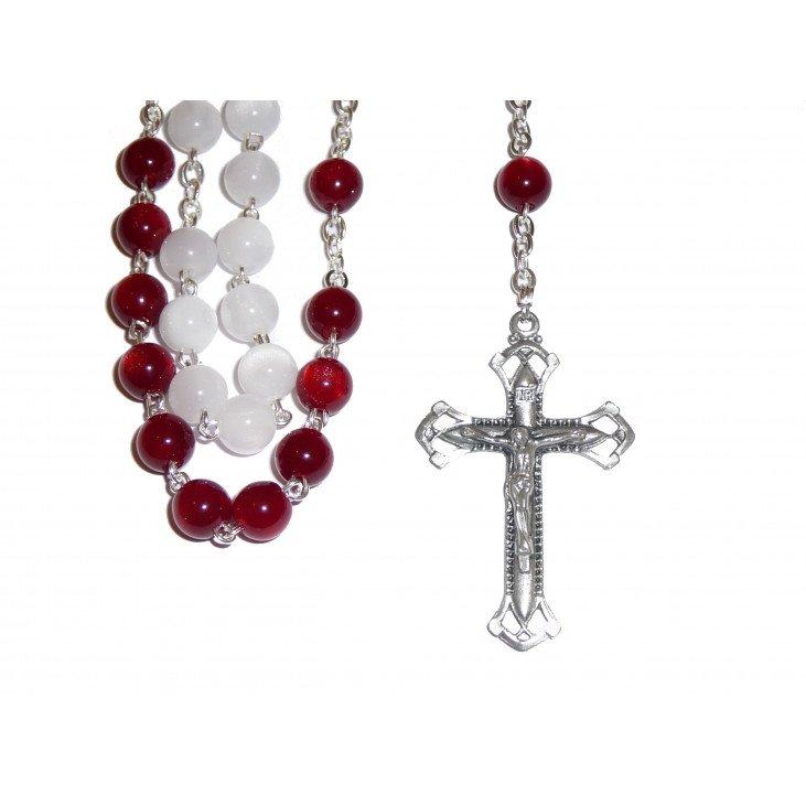 Chapelet Christ Miséricordieux - Blanc & rouge