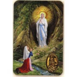 Carte prière avec un poinçon - Notre Dame de Lourdes