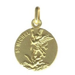 Medaille plaqué or de Saint Michel 16 mm