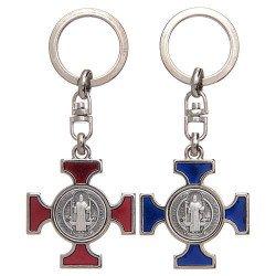 Porte-clés Croix Saint Benoit - argenté