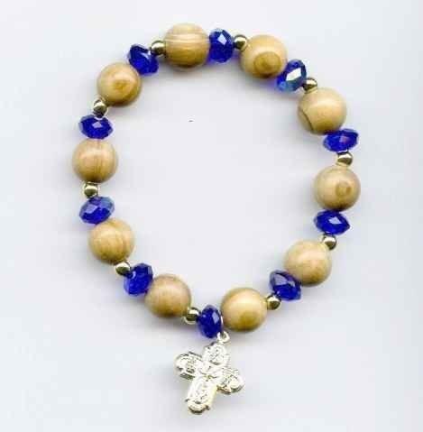 Bracelet semi cristal et grains bois