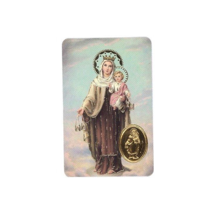Carte de prière avec poinçon - Notre-Dame du Mont Carmel