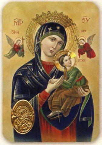 Carte de prière avec poinçon - Vierge du Perpétuel Secours