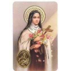 Carte de prière avec poinçon - Sainte Thérèse