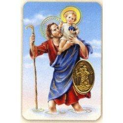Carte de prière avec poinçon - Saint Christophe