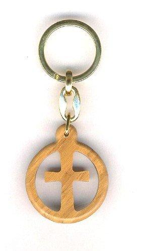 Porte clé Croix en bois d'Olivier