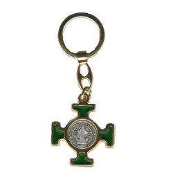 Porte-clés Croix Saint Benoît vert - doré