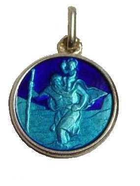 Médaille Saint Christophe en Argent émaillé