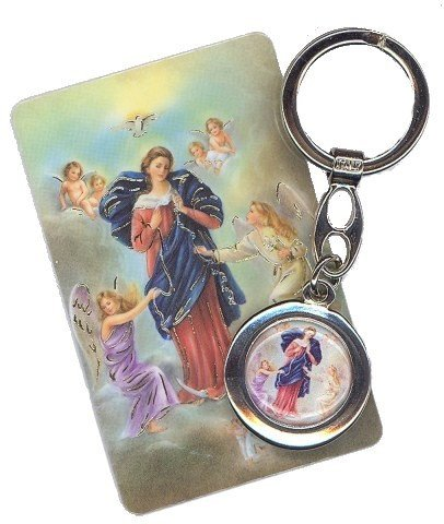 Porte-clés Marie qui défait les nœuds avec carte de prière