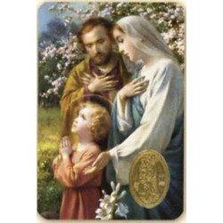 Carte de prière avec poinçon - Sainte Famille