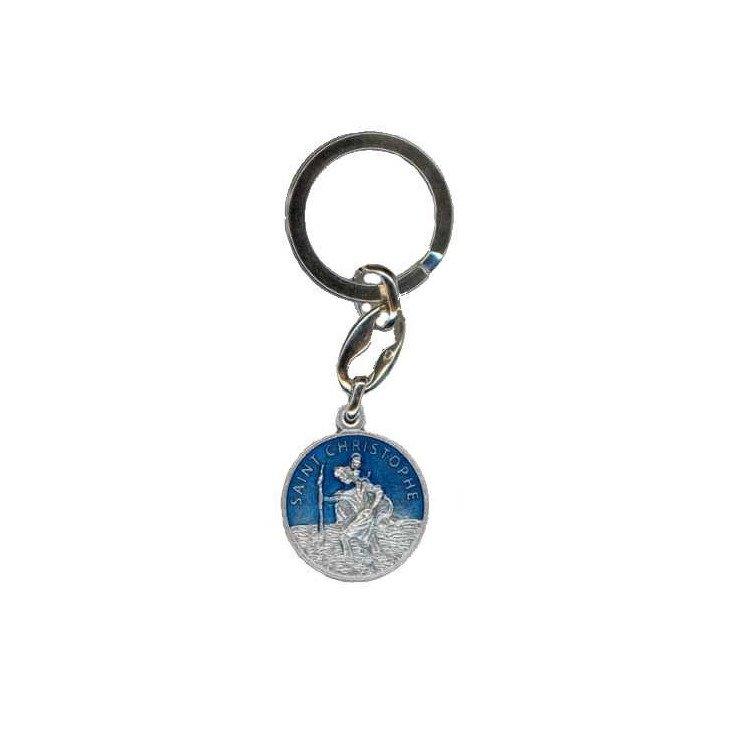 Porte-clés Saint Christophe bleu avec prière