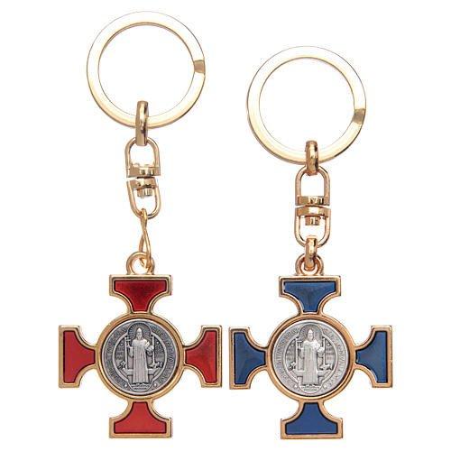 Porte-clés Croix Saint Benoît - doré