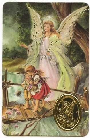 Carte de prière avec poinçon - Ange Gardien