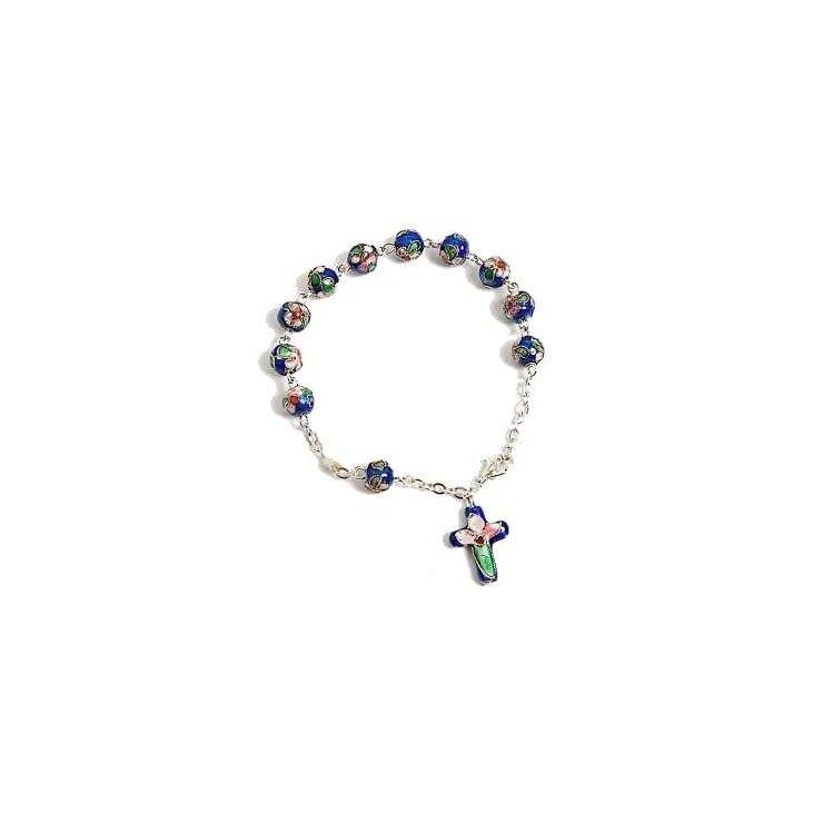 Bracelet dizainier cloisonné bleu