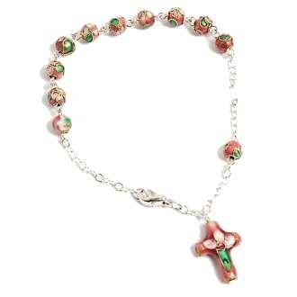 Bracelet dizainier cloisonné rose