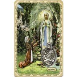 Carte de prière avec médaille en métal - Notre Dame de Lourdes