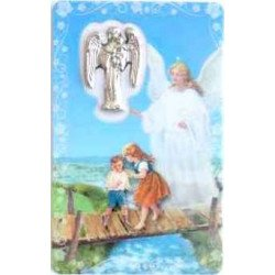 Carte avec prière et médaille - Ange Gardien