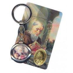 Porte-clés Saint Benoit avec carte de prière