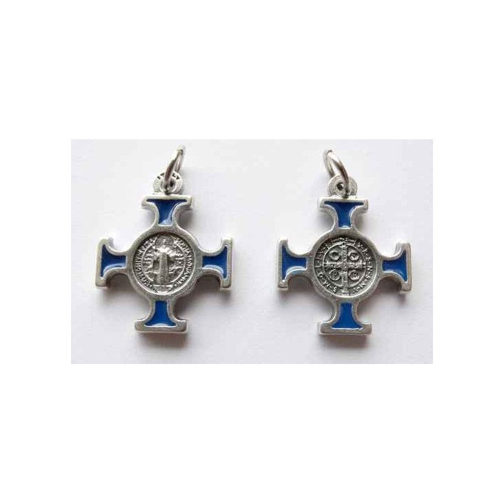 Croix Médaille Saint Benoit Bleu