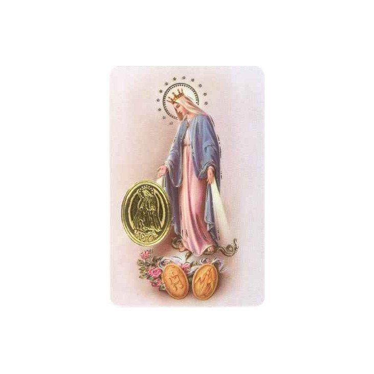 Carte de prière avec poinçon - Vierge Miraculeuse