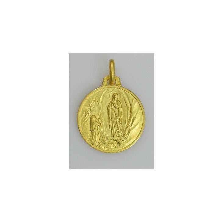 Médaille Notre Dame de Lourdes - plaqué or