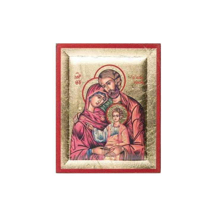 Icône dorée sur bois de la Sainte Famille - 8 cm