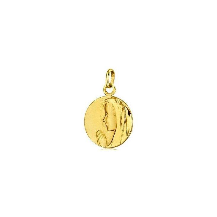 Médaille de la Vierge en prière - or 18 carats