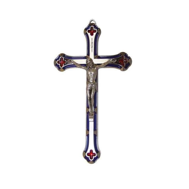 Crucifix en métal et résine bleu & rouge