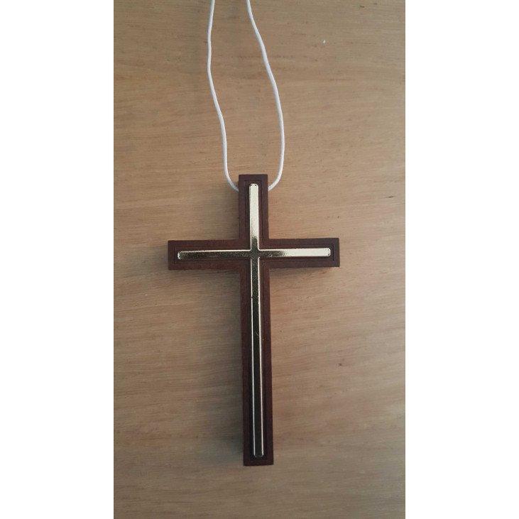 Croix d'aube bois & doré  - 10 cm