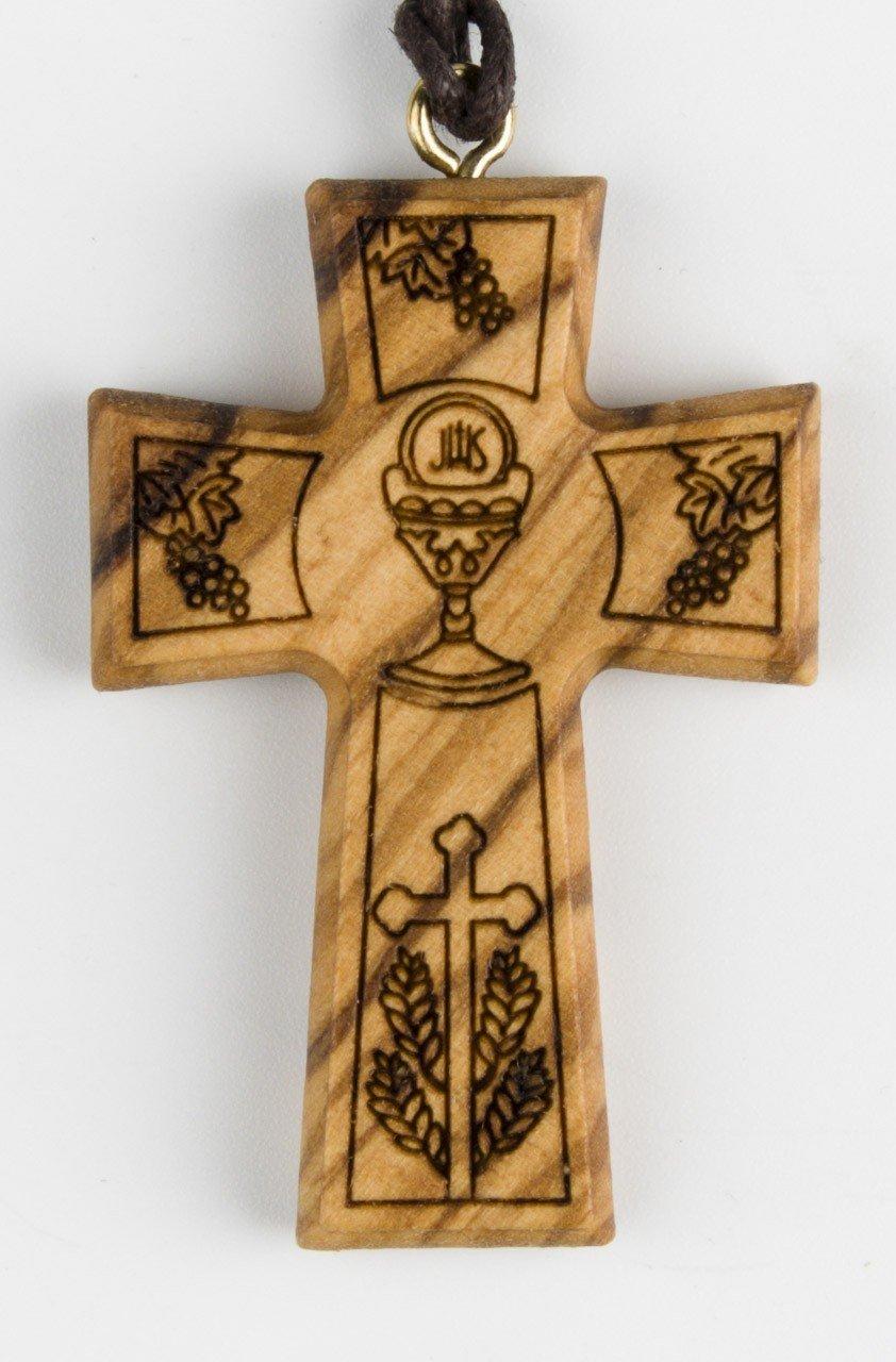 Croix en bois d'olivier avec cordon - Sujet communion
