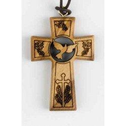 Croix en bois d'olivier avec cordon - Sujet colombe