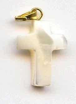 Croix nacre véritable - 18 mm