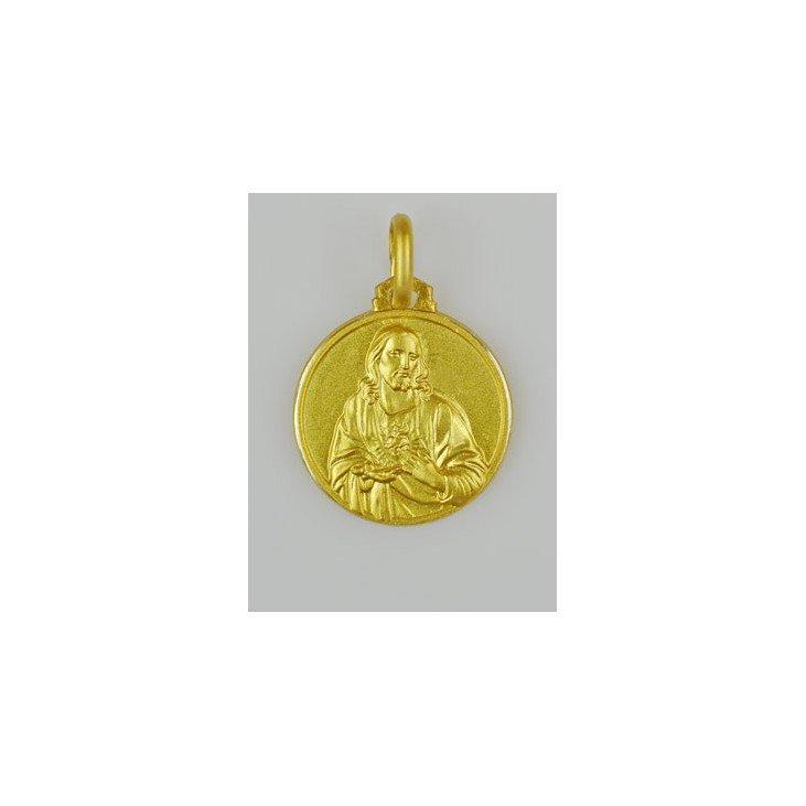 Médaille Sacré Coeur de Jésus - plaqué or