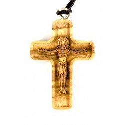 Croix en bois d'olivier - Christ relief