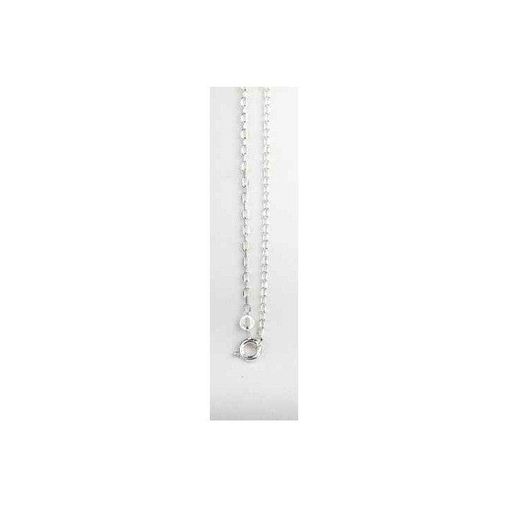 Chaîne Forçat Diamantée Argent Massif - 40 cm