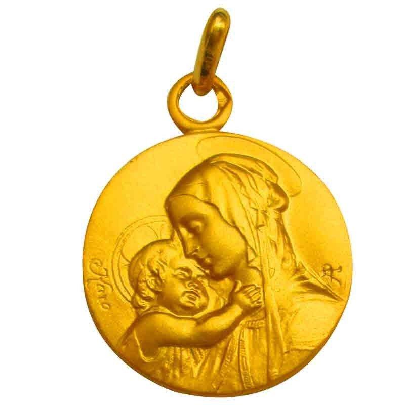 Médaille de la Vierge à l'Enfant profil - plaqué or
