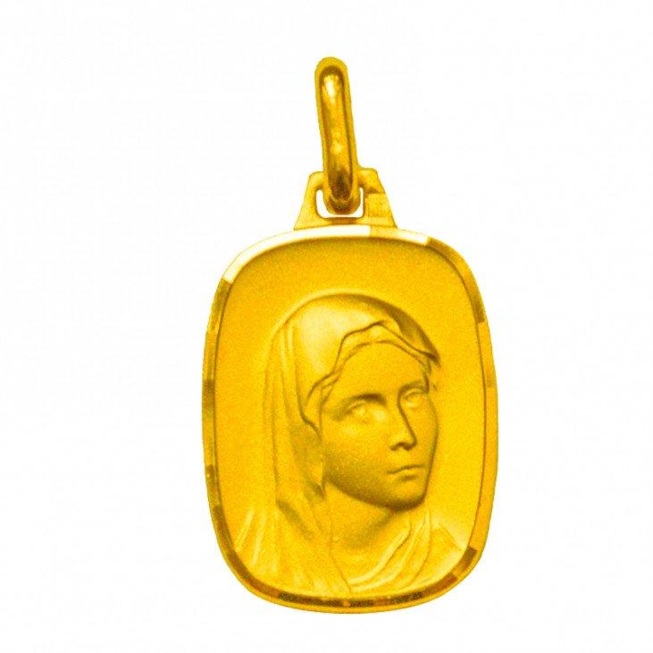 Médaille de la Vierge 17mm rectangulaire - plaqué or