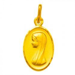 Médaille de la Vierge ovale - plaqué or