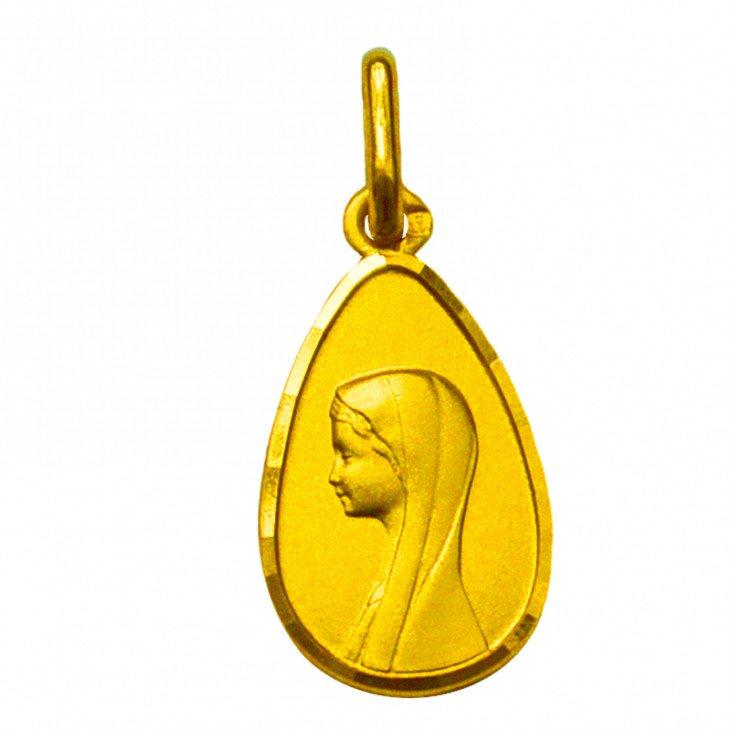 Médaille de la Vierge forme de goutte - plaqué or