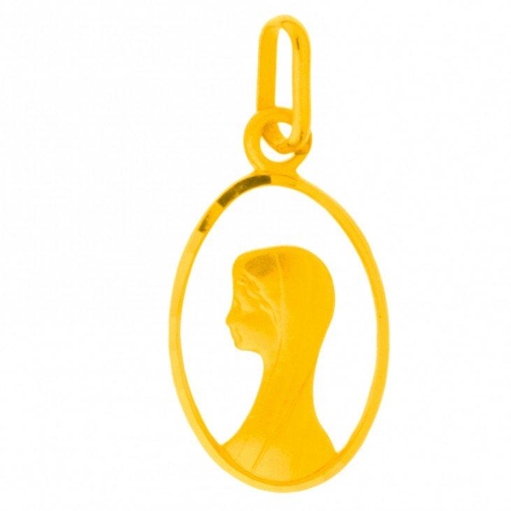 Médaille de la Vierge ajourée 17mm - plaqué or